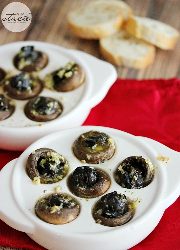 Escargots in Mushroom Caps with Garlic Butter- Impress your guests with this menu favourite, made right at home. Easy escargots appetizer.