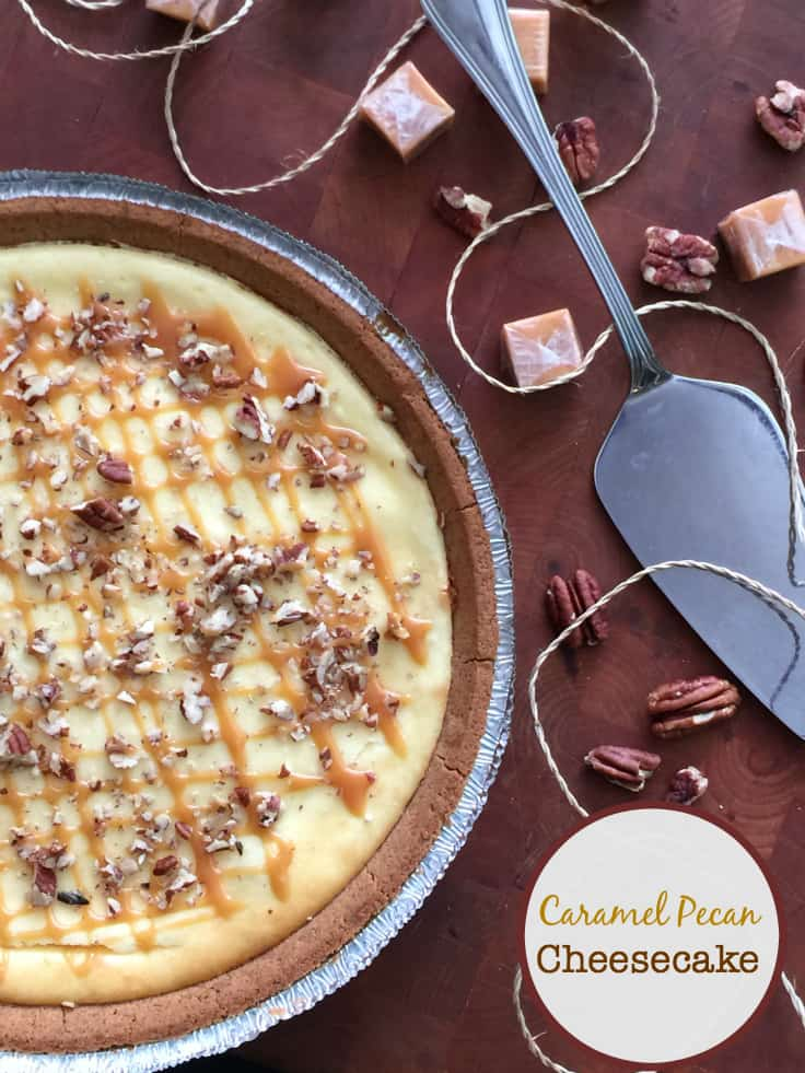 Caramel Pecan Cheesecake - Each bite is a piece of cheesecake heaven! With a caramel layer followed by a cheesecake filling and topped with pecans, this dessert is off the charts!