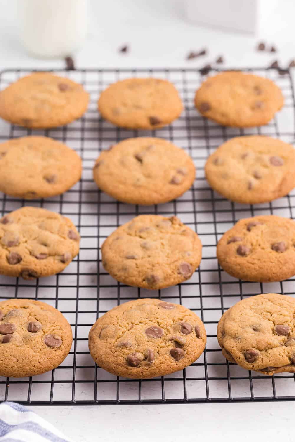 chocolate chip cookies on a wire baking rack