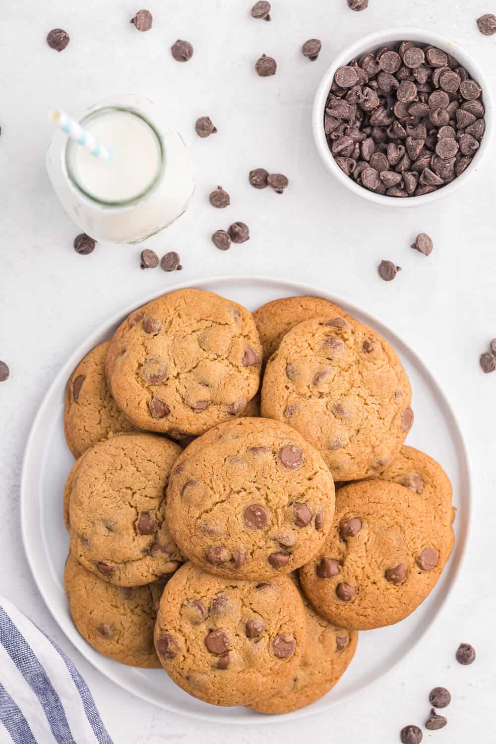 Chocolate cookies on a white plate with a glass of milk