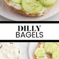 Dilly Bagels - Toasted bagels topped with a dill cream cheese spread and topped with fresh cucumbers and dill. A delicious breakfast!