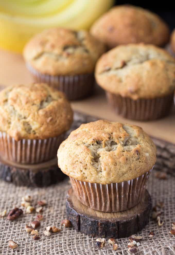 Banana Nut Muffins - Moist and sweet with a deliciously tender crumb, these muffins won't last long.