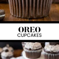 Oreo Cupcakes - Chocolate Cupcakes topped with a rich chocolate ganache and cream cheese & Oreo frosting.