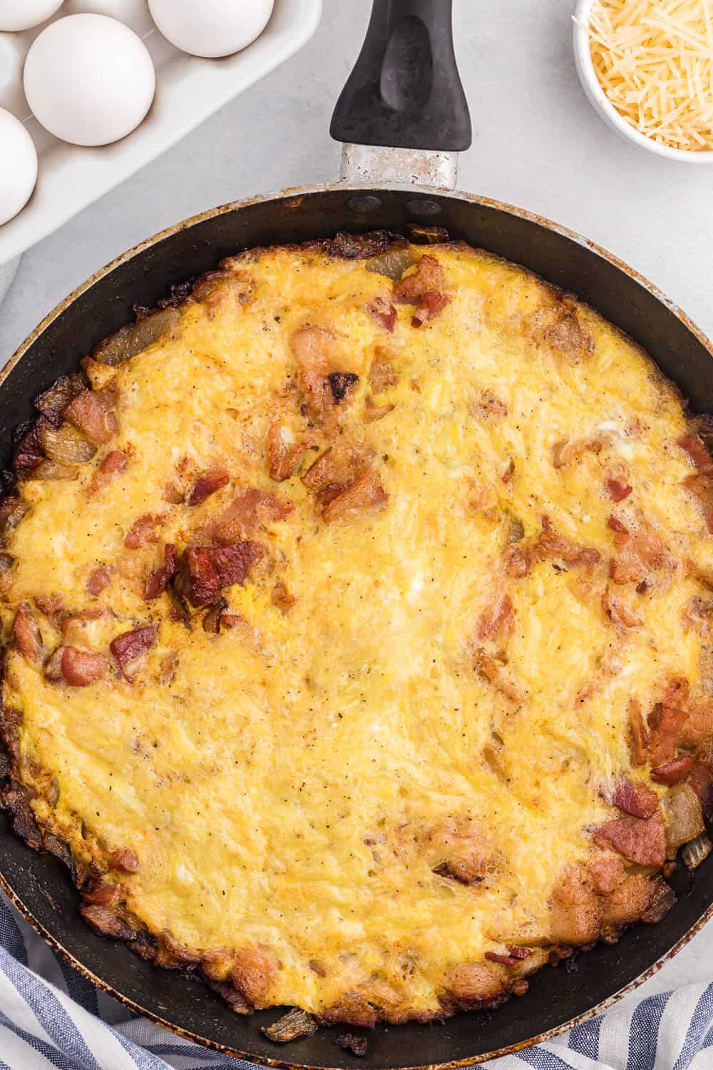 Pancetta & Onion Frittata - With sweet caramelized onions and salty pancetta, this quick and easy frittata is a great low-carb option - anytime of day!
