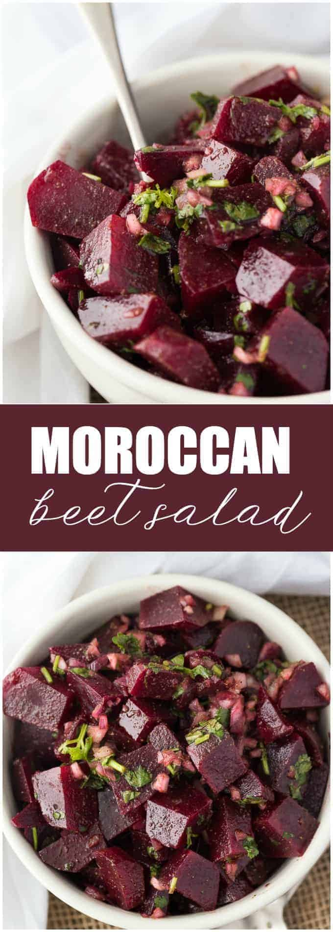 Moroccan Beet Salad - Naturally sweet and colorful, too! A light and refreshing Middle Eastern salad side dish packed with parsley, cilantro, and cumin.