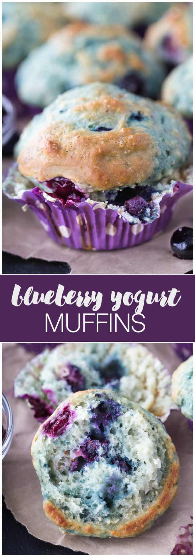 Blueberry Yogurt Muffins - Incredibly moist with sweet blueberries sprinkled throughout!