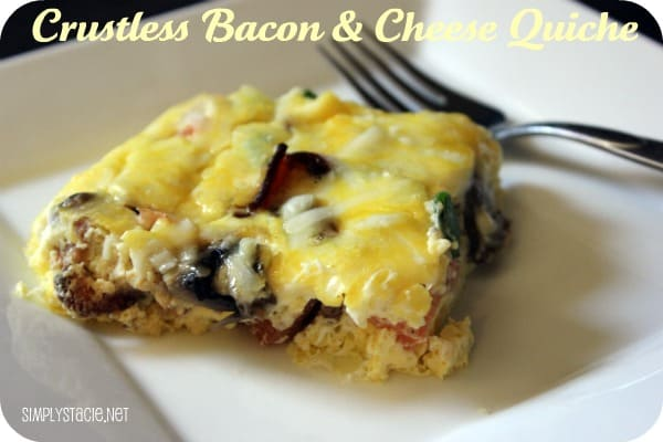 Crustless Bacon & Cheese Quiche - perfect for a low carb diet!