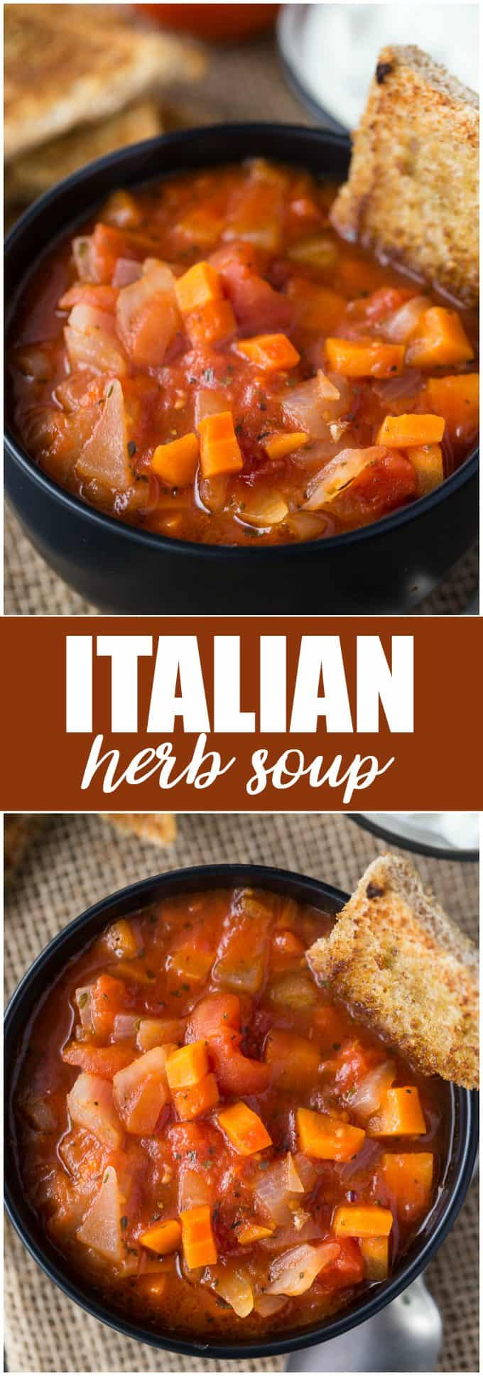 Italian Herb Soup - Served with homemade sage croutons, this hearty soup makes a filling, healthy meal.