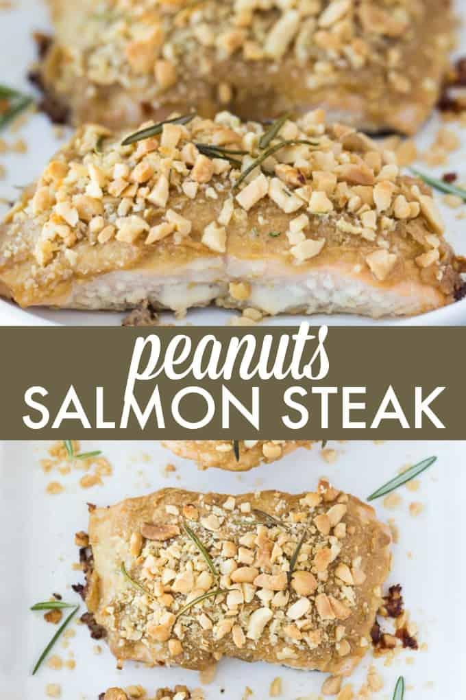 Peanuts Salmon Steak - Fresh salmon smothered in a savoury peanut marinade.