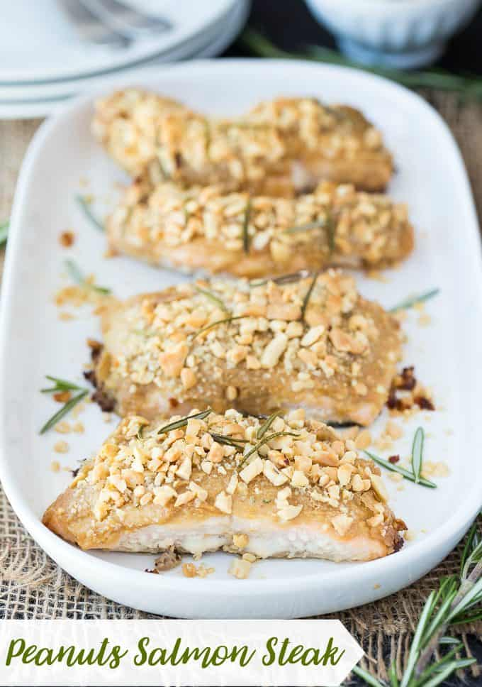 Peanuts Salmon Steak - Fresh salmon smothered in a savoury peanut marinade.