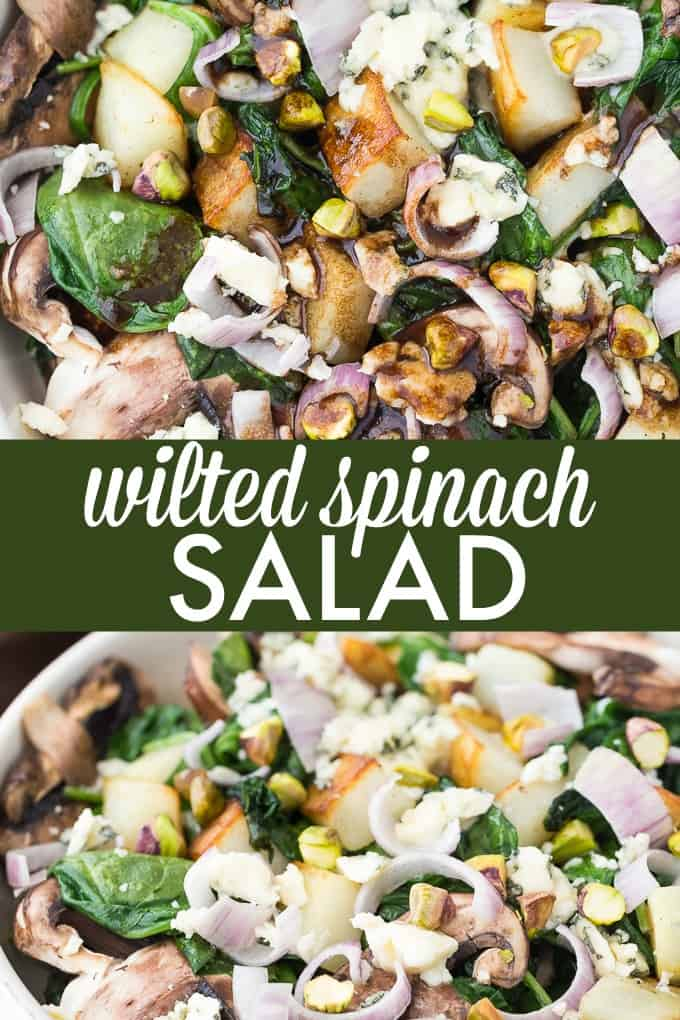 Wilted Spinach Salad - Crimini Mushrooms and Crispy Potato are topped on a bed of wilted spinach drenched with a raspberry balsamic dressing.