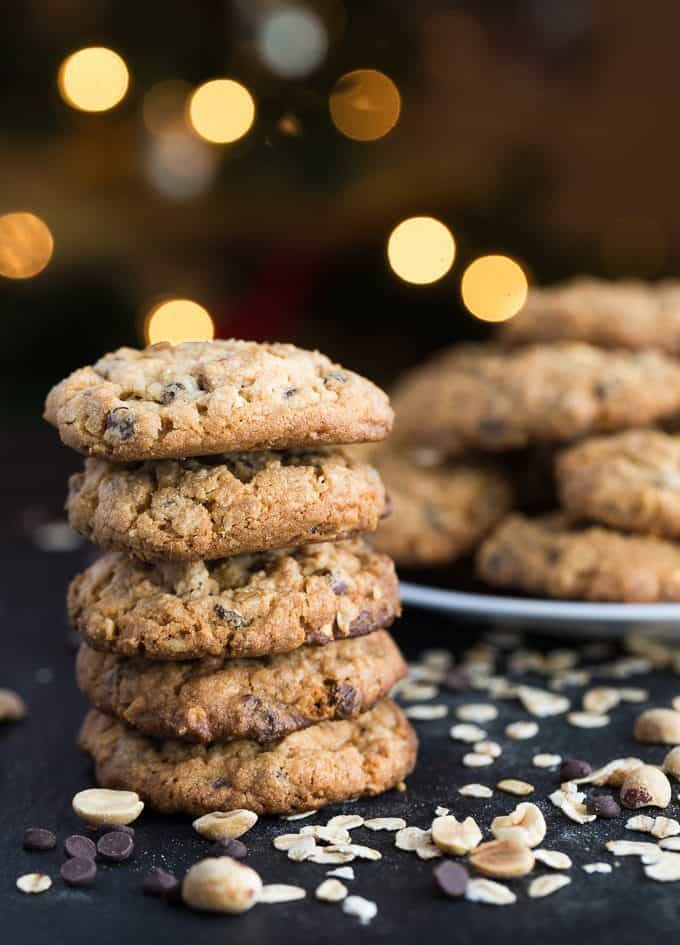 Peanut Butter & Oatmeal Chocolate Chip Cookies - Mega delicious cookies packed with mini chocolate chips, browned butter oats, creamy peanut butter and chopped peanuts.