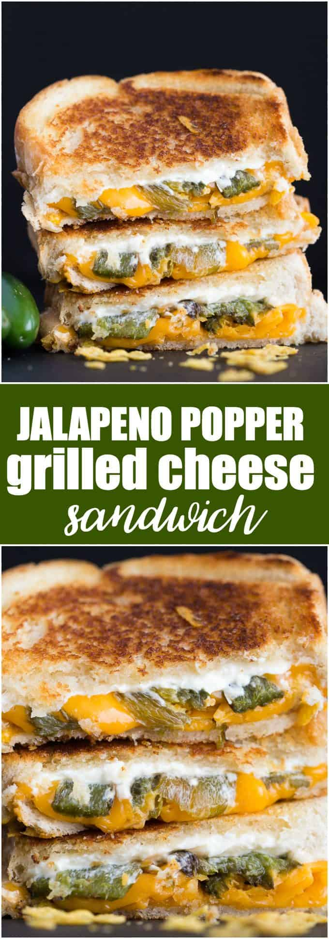 Jalapeno Popper Grilled Cheese Sandwich - The BEST grilled cheese recipe! Stuff your favorite zesty appetizer between crunchy toasted bread and smothered in more cheese.