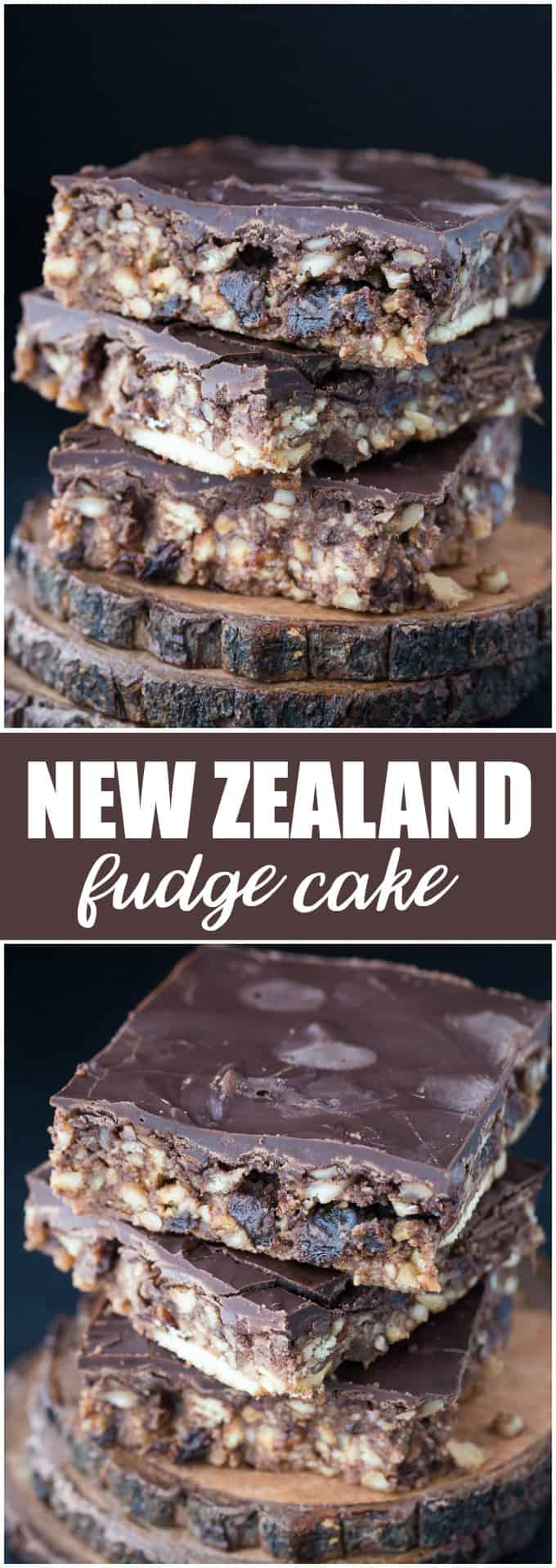 New Zealand Fudge Cake - A simple, no-bake dessert made with raisins, nuts, cookies and lots of chocolate!