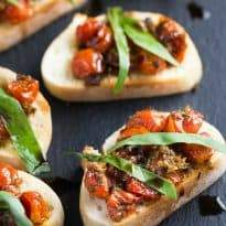 Roasted Grape Tomato and Basil Crostini