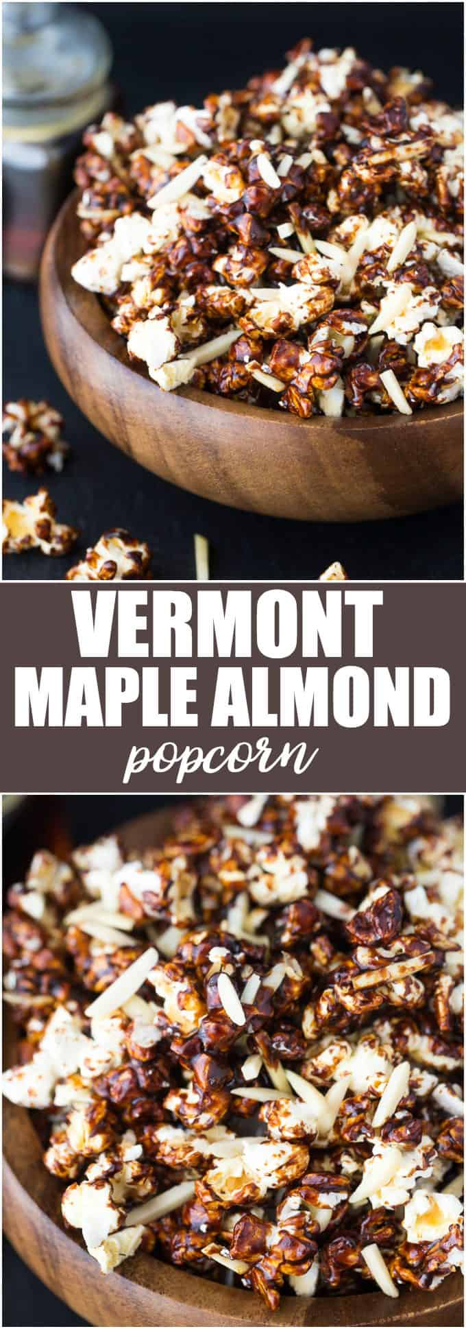 Vermont Maple Almond Popcorn - A deliciously sweet and crunchy snack!