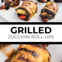 Grilled Zucchini Roll-Ups - A simple, but savory summer appetizer. This easy recipe wraps grilled zucchini strips around herbed goat cheese and grilled red peppers with a finish of extra olive oil and balsamic vinegar. Mmm!