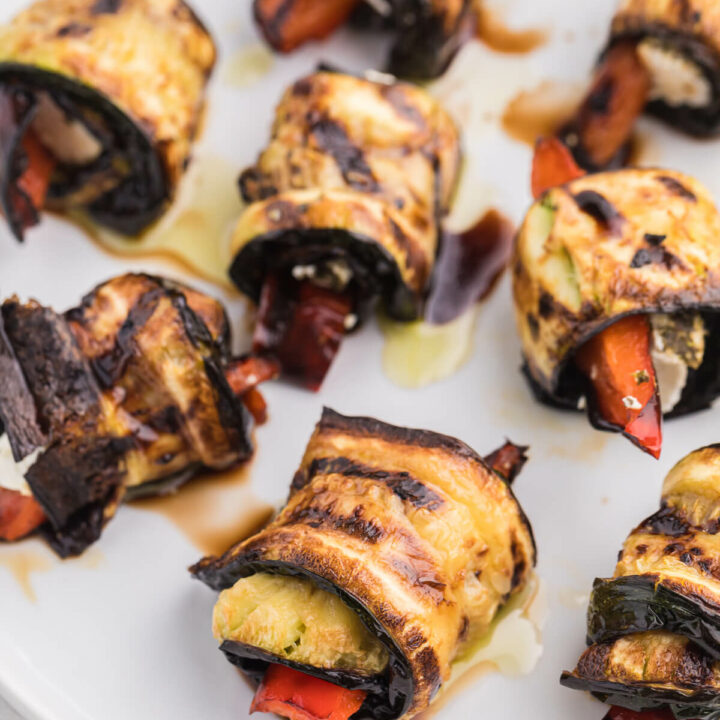 Grilled Zucchini Roll-Ups - A simple, but savoury summer appetizer. This recipe wraps goat cheese with grilled veggies. Mmm!