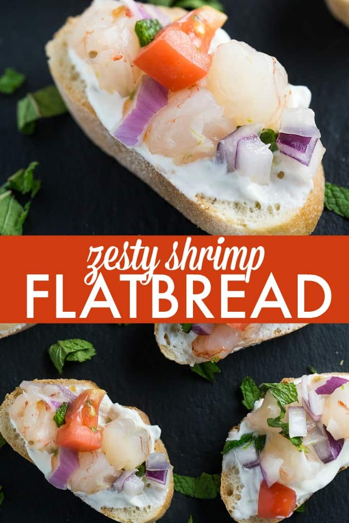 Zesty Shrimp Flatbred - Tantalize your tastebuds with this appetizer. Tzatziki, mint and jalapenos collide to kick the zing up on this shrimp recipe.