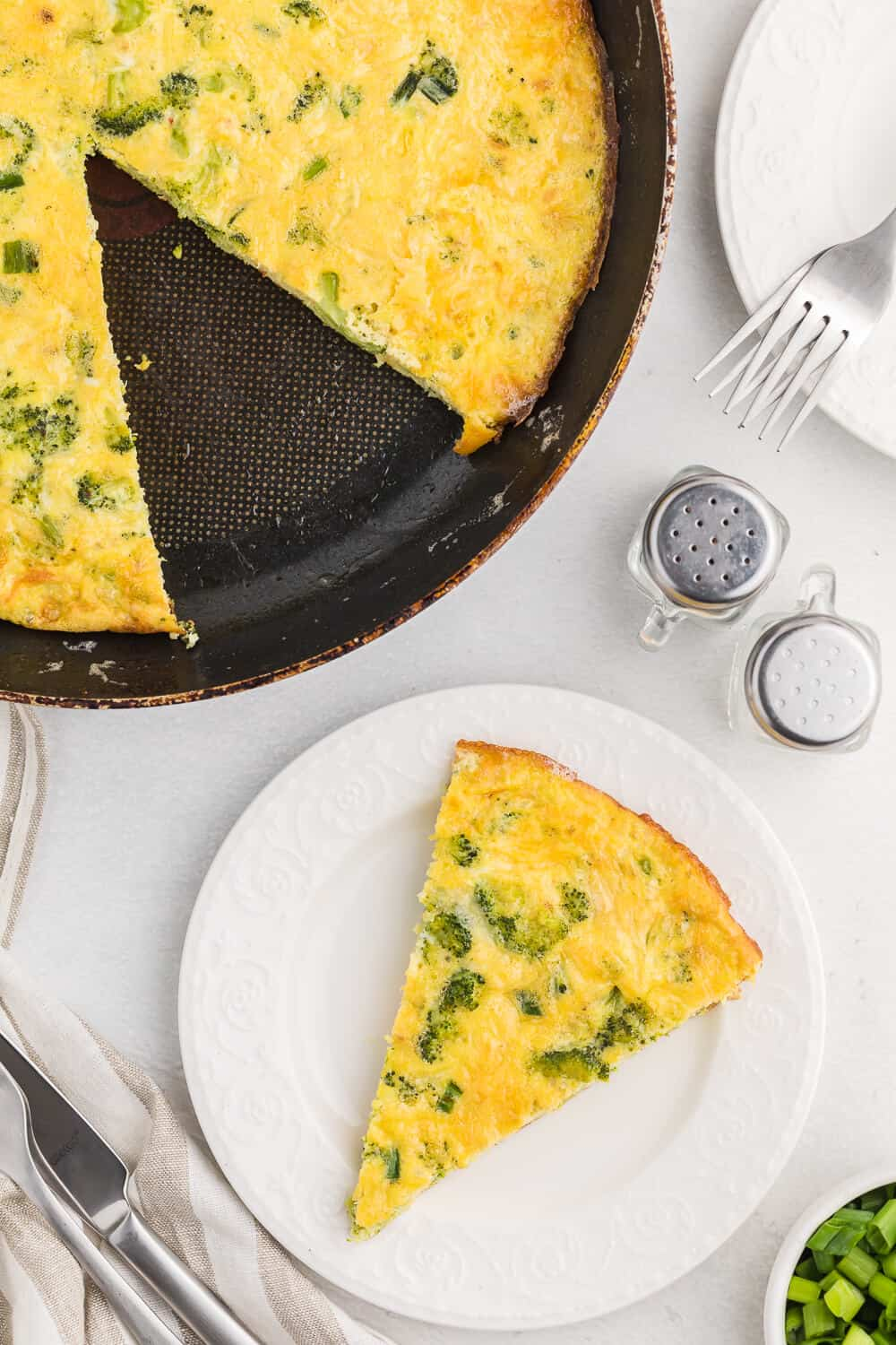 Broccoli Frittata - The classic and delicious combination of broccoli and cheese are the perfect pair in this quick and easy oven-baked frittata. Fresh or frozen broccoli can be used to make this quick and easy meal.