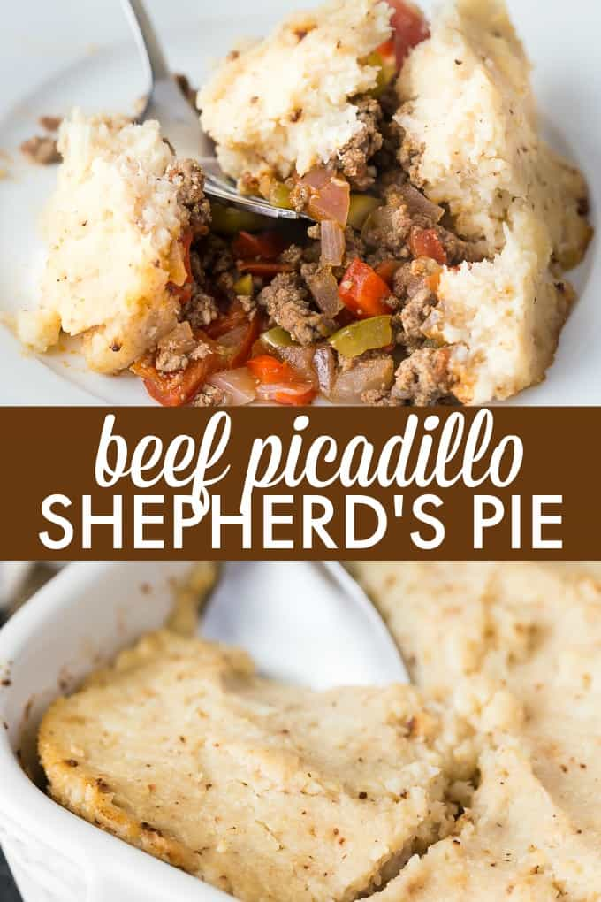Beef Picadillo Shepherd's Pie - This easy recipe is a low carb twist on the classic Shepherd's Pie. Loaded with warm spices and a slight tang from the olives, this is a kid-friendly meal that the whole family enjoy.