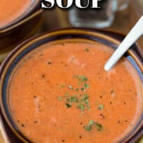 Cream of Tomato Soup - You'll never buy canned soup again! This is the best homemade tomato soup recipe made with a few pantry staples and a little fresh basil.