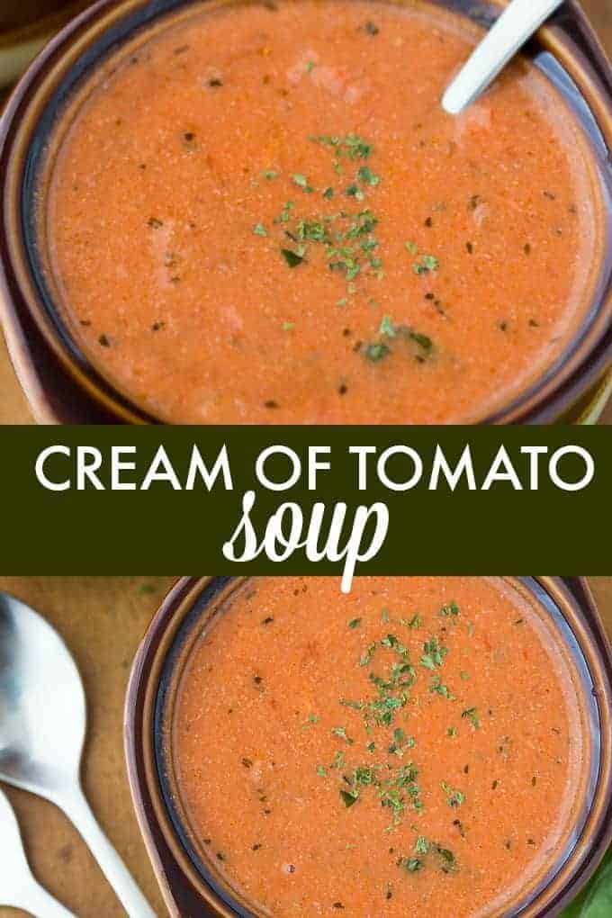 Cream of Tomato Soup - Hot and tasty and made with a few simple ingredients!