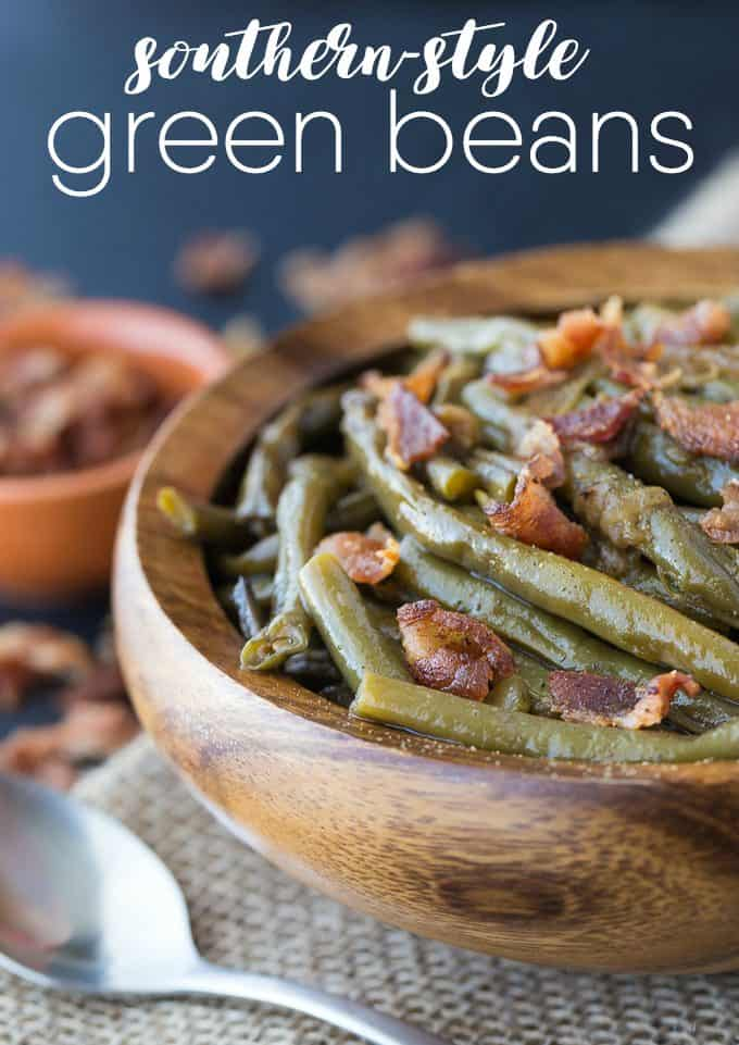 Southern Style Green Beans - A simple slow cooker recipe made with beans, bacon and onions!