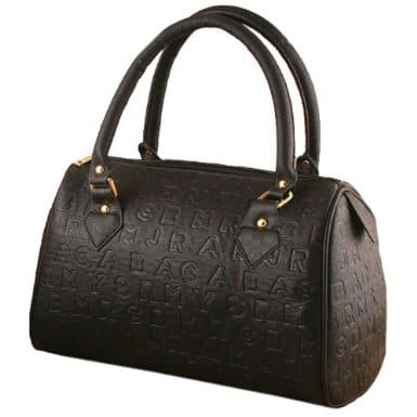 TANYA Designer Inspired Classic Alphabet Letter Engraved Medium Satchel Handbag Tote Hobo Bag Purse