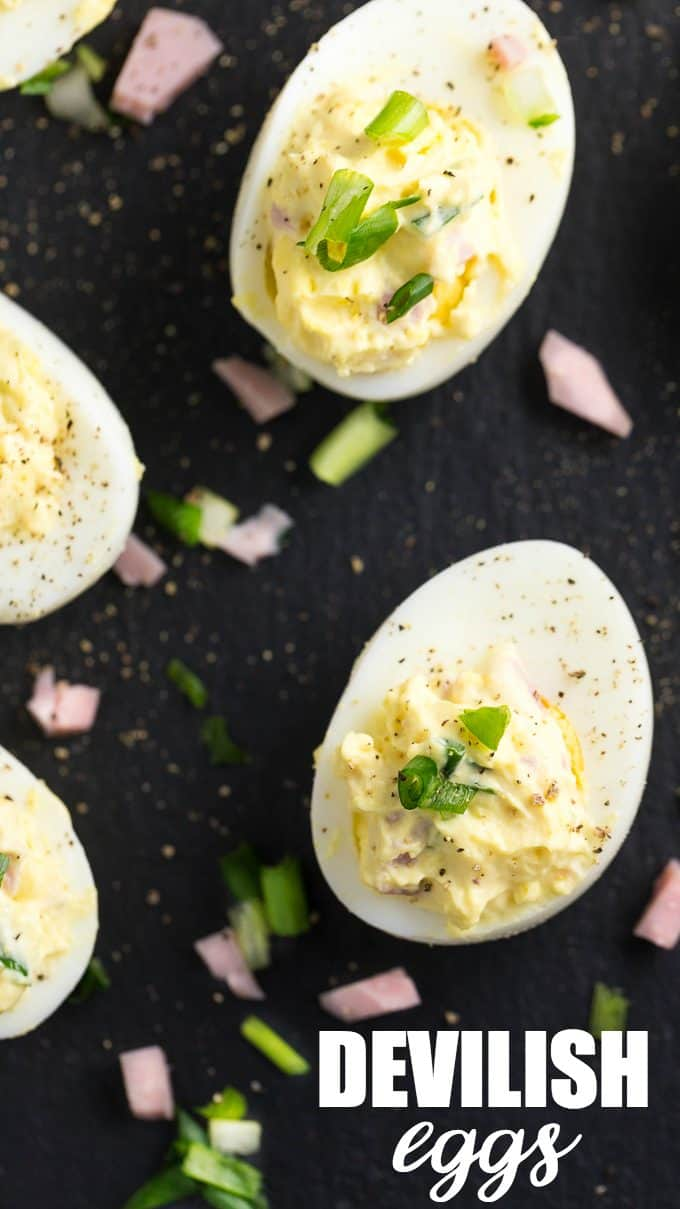 Devilish Eggs - Not your ordinary deviled egg recipe. This easy appetizer has Dijon mustard, ham and NO paprika!