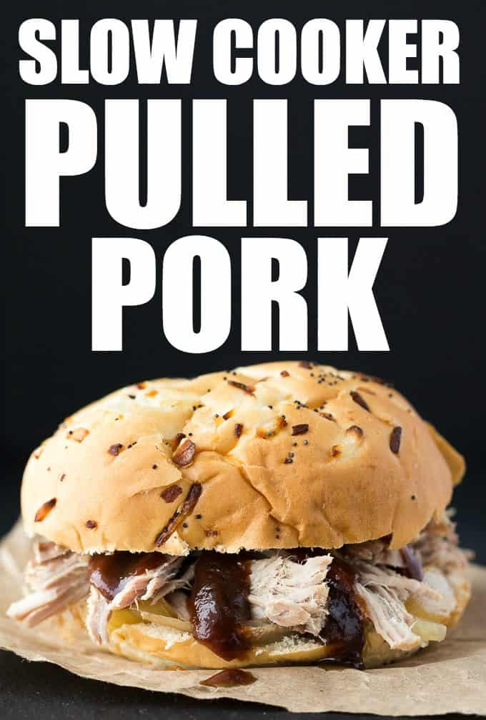 \Slow Cooker Pulled Pork - Tender and succulent pork shoulder roast piled high on my favorite sweet rolls. Yum!