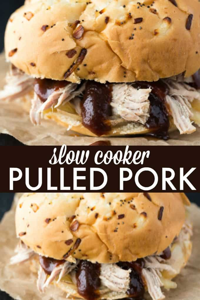 Slow Cooker Pulled Pork - Tender and succulent pork shoulder roast piled high on my favorite sweet rolls. Yum!