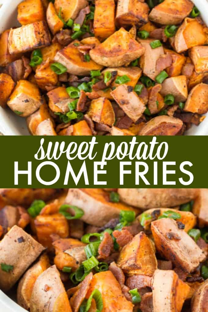 Sweet Potato Home Fries - A mouthwatering side dish with only three ingredients: sweet potatoes, bacon and green onions!