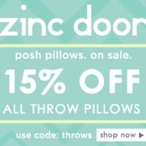 Zinc Door Offers 15% off Throw Pillows