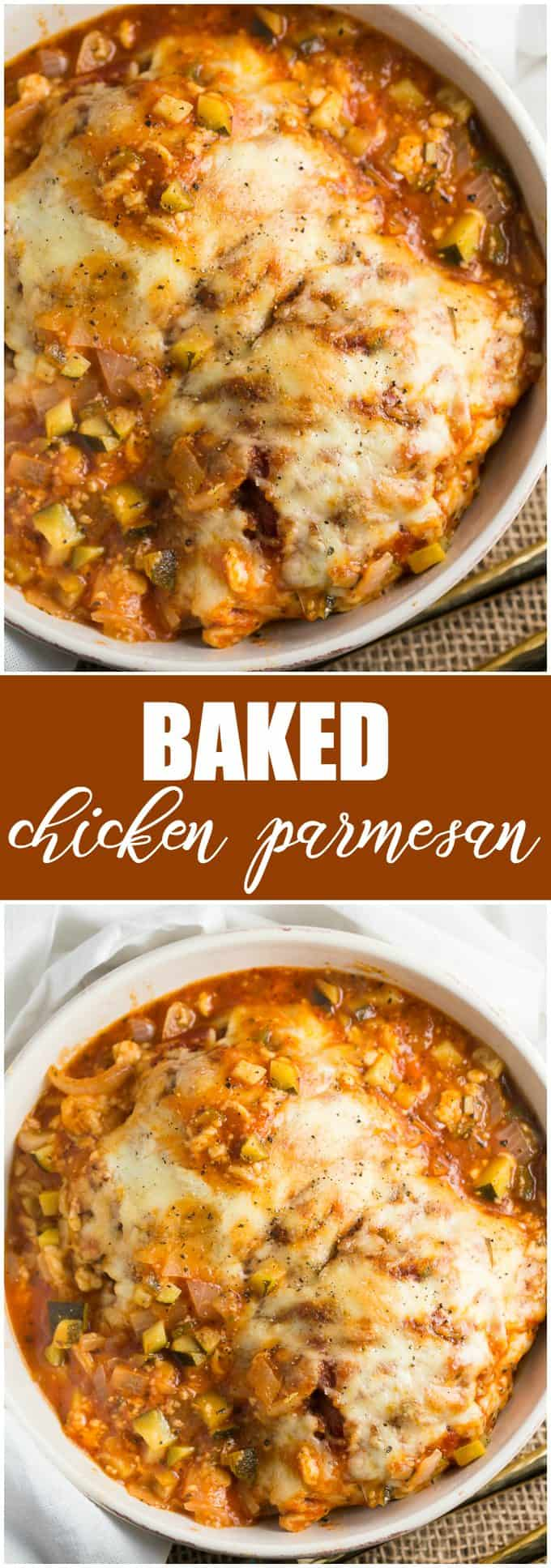 Baked Chicken Parmesan - Easy, cheesy, mouthwatering comfort food!