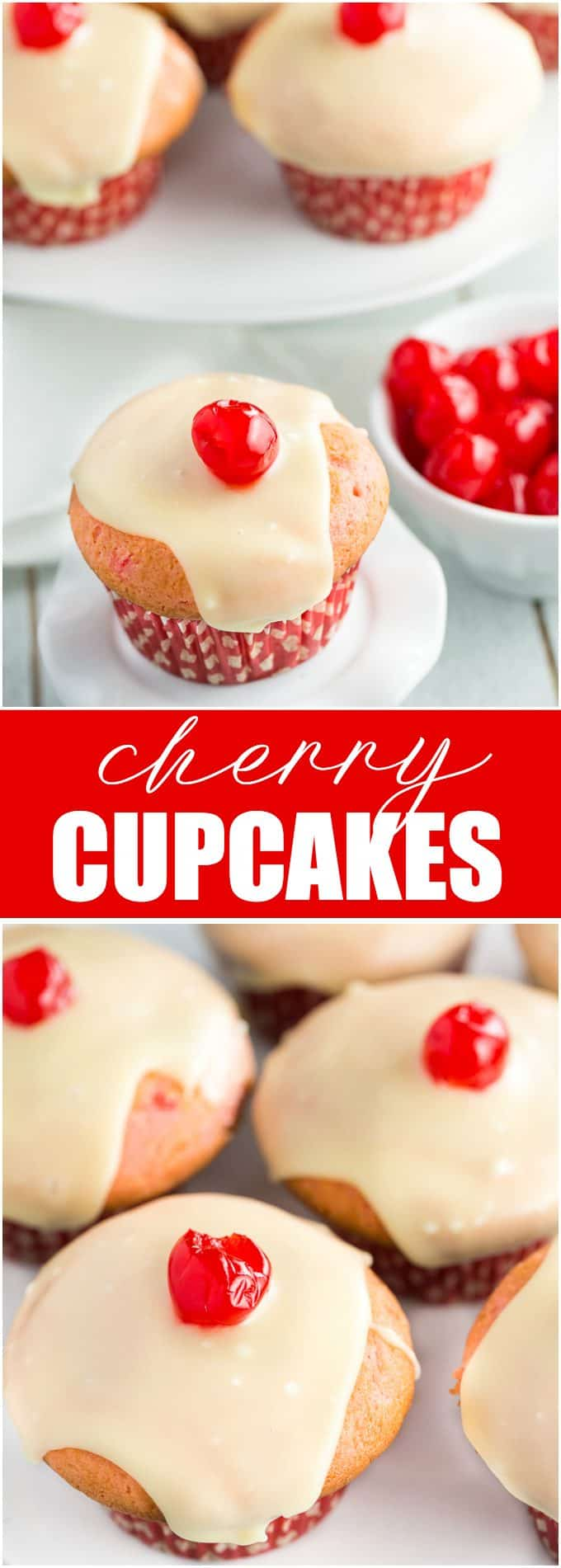 Cherry Cupcakes - White cake mix is doctored with cherries and topped with a rich, smooth white chocolate glaze.