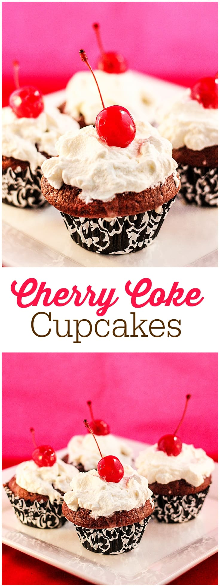 Cherry Coke Cupcakes - Each cupcake has a cherry in the middle, glazed with a Coca-Coca sugar glaze and topped with sweet and fluffy whipped cream. Super yum.