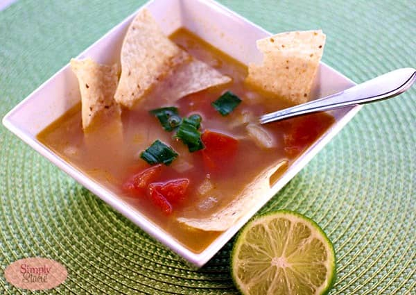 Chicken and Lime Soup - This quick and easy soup tastes like it simmered all day! A little lime juice really lifts this tomato broth for an amazing Mexican soup.