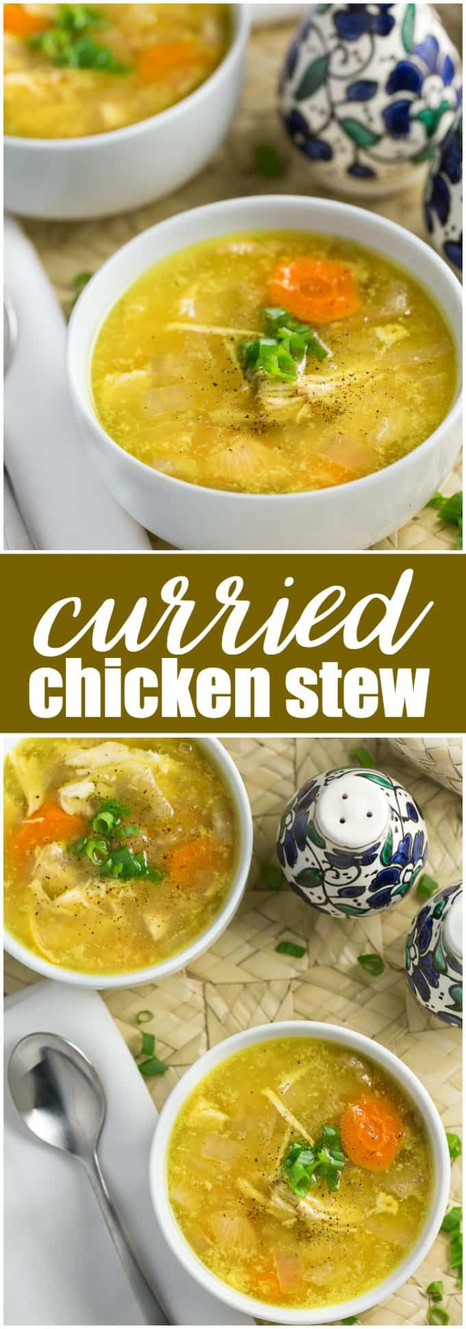 Curried Chicken Stew - Comforting and delicious! This easy crockpot stew recipe is made with tender chicken, coconut milk, curry powder, and fresh ginger.