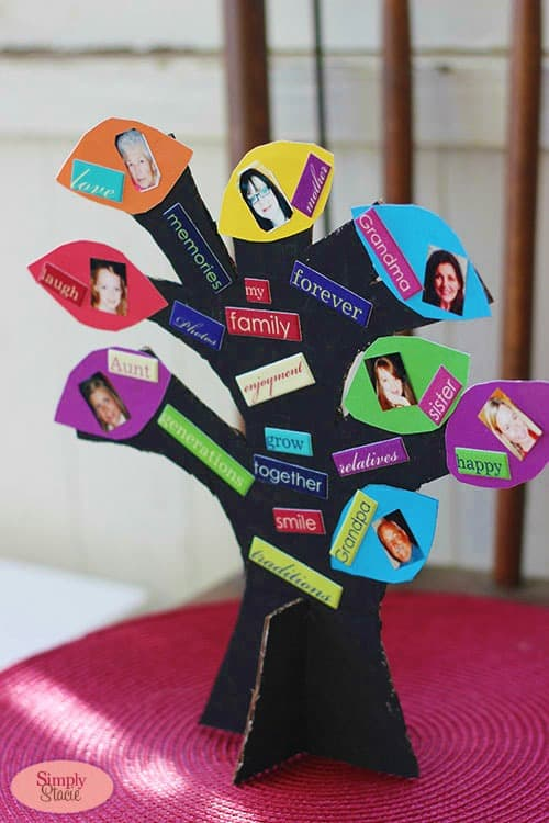 Family Photo Tree Craft - A fun and simple craft for the kids. Perfect for Mother's Day or Father's Day!