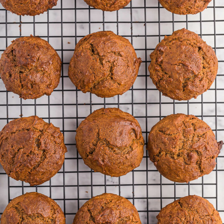 sweet potato muffins on a cooling rack