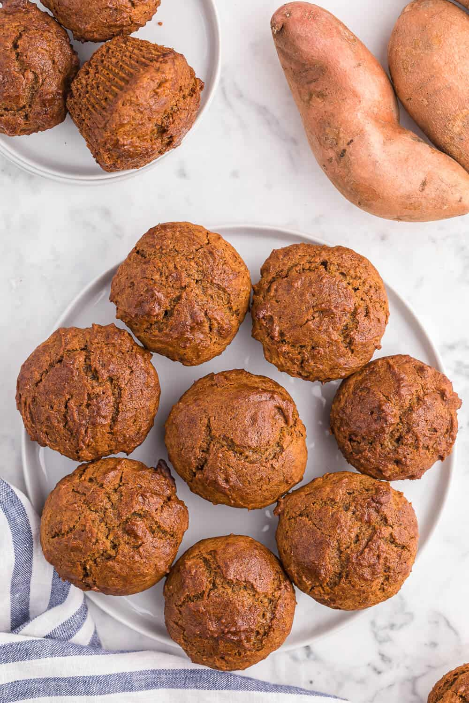 sweet potato muffins on a plate