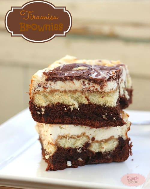 Tiramisu Brownies - this dessert is to die for! Rich and sweet with a hint of coffee flavor. Yum!