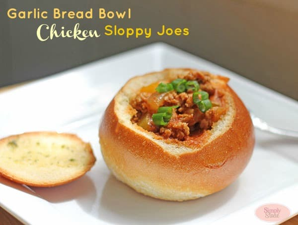 Garlic Bread Bowl Chicken Sloppy Joes Recipe #BreakUpWithGroundBeef