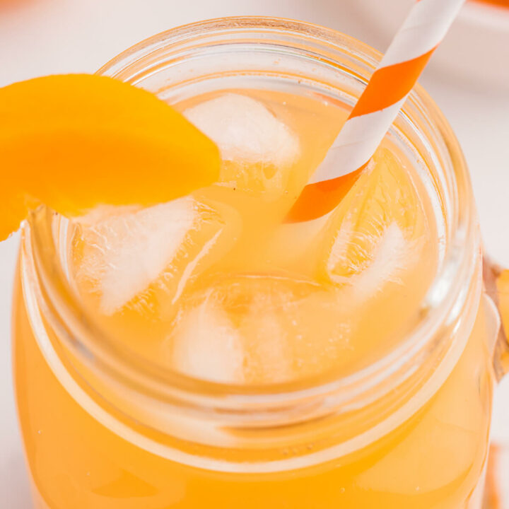 Peachy Sparkler - This sweet and bubbly mocktail full of peach flavour can be enjoyed by everyone...but would be a fantastic adult beverage with the addition of your favourite spirit. Enjoy on a hot summer day, soaking in the sun!
