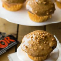 Skor Cupcakes - Rich chocolate decadence topped with a sweet toffee glaze!