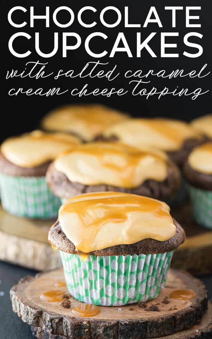 Chocolate Cupcakes with Salted Caramel Cream Cheese Topping - Made with a secret ingredient! The topping tastes like caramel cheesecake.