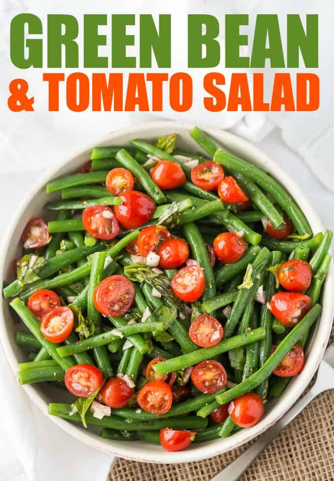 Green Bean and Tomato Salad - An effortless side dish that screams summer! This light and crispy side dish is great for weeknight dinners or your next barbecue.