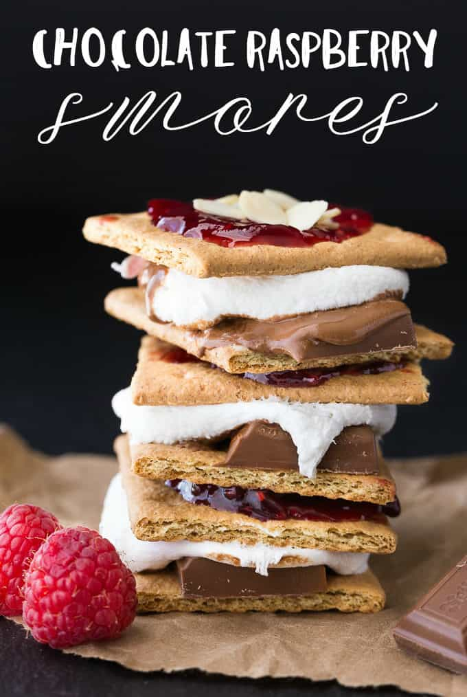 Chocolate Raspberry S'mores - No bonfire is required to make this sweet treat! Graham crackers are smothered in marshmallows, milk chocolate, raspberry jam and almonds!