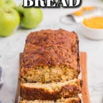 apple cheddar quick bread on a cutting board